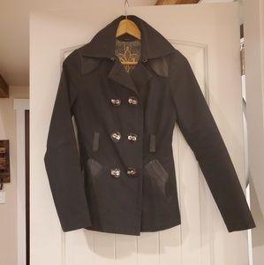 Mackage rain coat jacket leather trim size xs